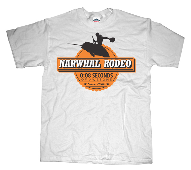 Narwhal rodeo awesome sign T-shirt